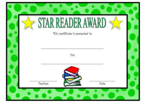 Star Reader Certificate Template Free 2 | Reading Awards with Fresh Super Reader Certificate Template