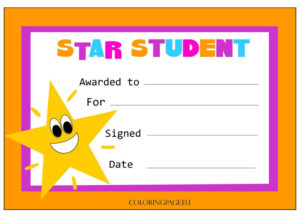 Star Student Certificate | Coloring Page | Star Students for Star Student Certificate Template