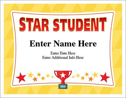 Star Student Certificate - Free Award Certificates throughout Star Student Certificate Templates