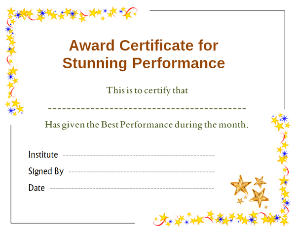 Stars Award Certificate For Performance Template | Office for Quality Star Award Certificate Template