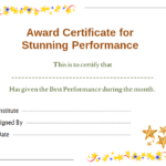 Stars Award Certificate For Performance Template | Office With Regard To Best Best Performance Certificate Template