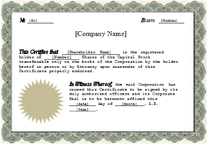 Stock Certificate Template Word (1)   Professional Templates in Certificate Of Ownership Template