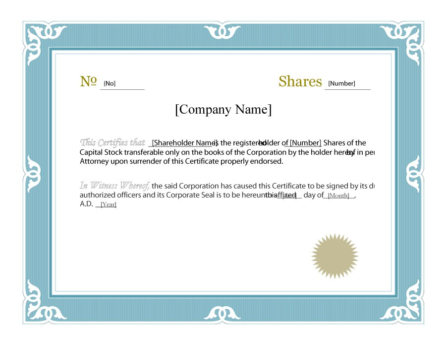 Stock Certificate Template Word (1) | Professional Templates intended for Free Stock Certificate Template Download