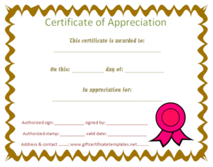 Student Certificate Of Appreciation – Free Certificate for Fresh Free Student Certificate Templates