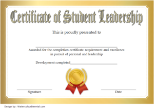 Student Leadership Certificate Template 7 Free | Student for New Student Council Certificate Template