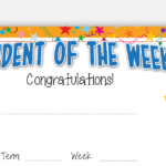 Student Of The Week Certificate intended for Unique Student Of The Week Certificate