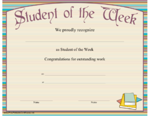 Student Of The Week Certificate Printable Certificate inside Student Of The Week Certificate Templates