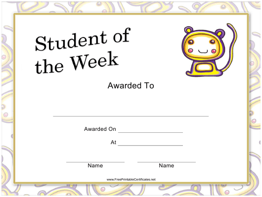 Student Of The Week Certificate Template Download Printable intended for Fresh Student Of The Week Certificate Templates