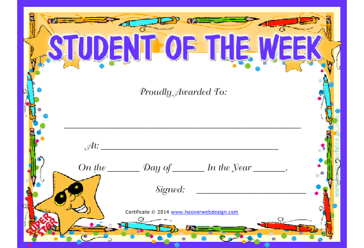 Student Of The Week Certificate Template Download Printable throughout Student Of The Week Certificate Templates