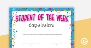 Student Of The Week Certificate throughout Unique Student Of The Week Certificate