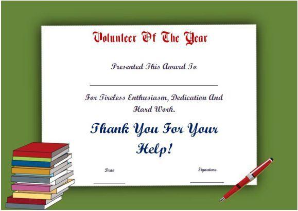 Student Volunteer Of The Year Award Certificate for Best Volunteer Of The Year Certificate Template