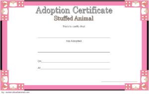 Stuffed Animal Adoption Certificate Template Free | Adoption inside Stuffed Animal Birth Certificate