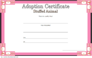 Stuffed Animal Adoption Certificate Template Free   Adoption within New Pet Adoption Certificate Editable Templates