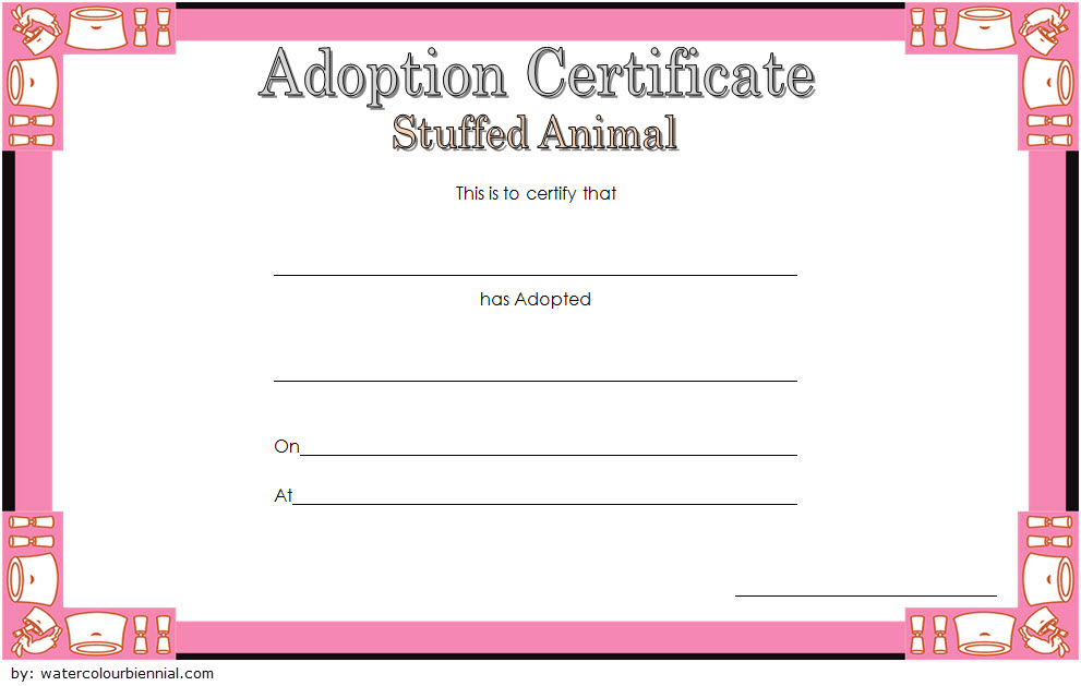 Stuffed Animal Adoption Certificate Template Free | Adoption within New Pet Adoption Certificate Editable Templates