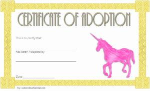 Stuffed Animal Adoption Certificate Template Unique Unicorn with Unicorn Adoption Certificate Templates