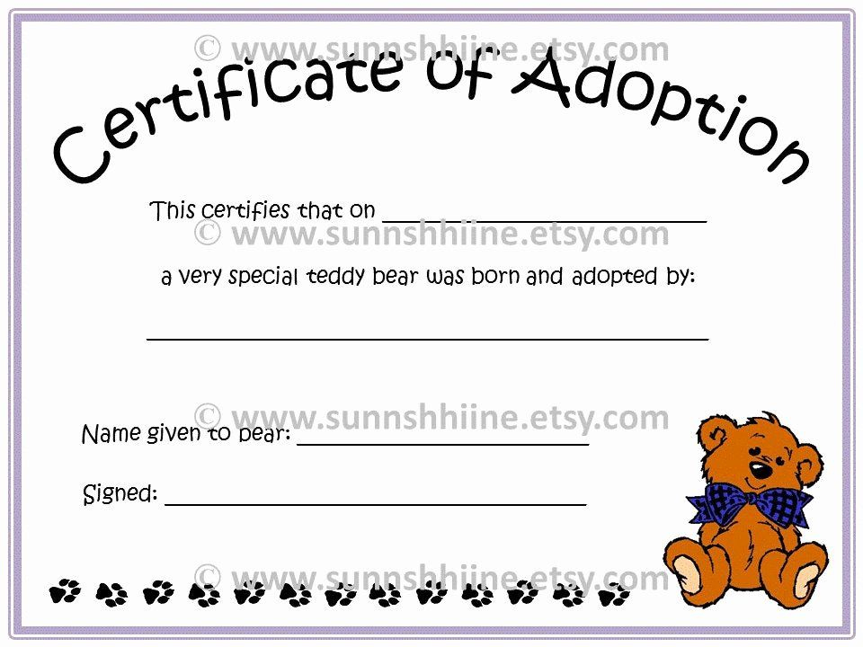 Stuffed Animal Birth Certificate Template Best Of intended for Stuffed Animal Birth Certificate Template 7 Ideas