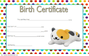 Stuffed Animal Birth Certificate Template Free For Cat Doll pertaining to Stuffed Animal Birth Certificate