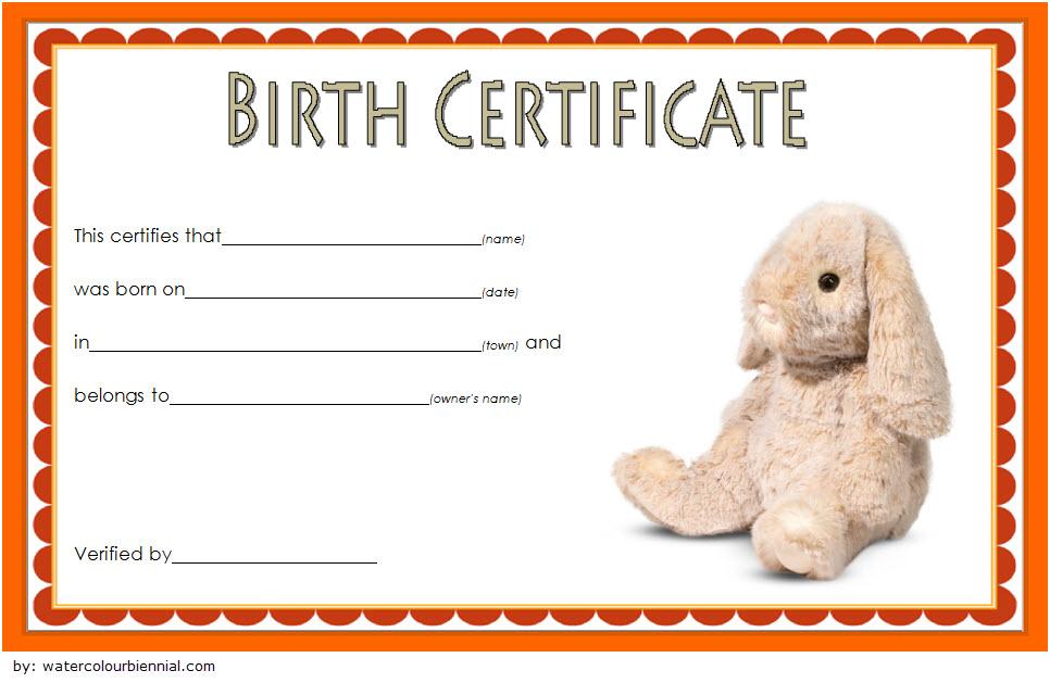 Stuffed Animal Birth Certificate Template Free For Rabbit inside Unique Stuffed Animal Birth Certificate Templates