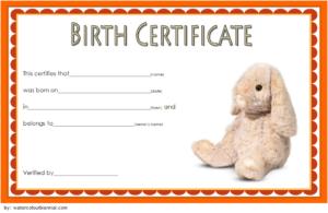 Stuffed Animal Birth Certificate Template Free For Rabbit pertaining to Fresh Stuffed Animal Birth Certificate