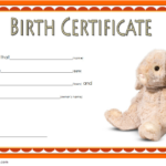 Stuffed Animal Birth Certificate Template Free For Rabbit with Rabbit Birth Certificate Template Free 2019 Designs
