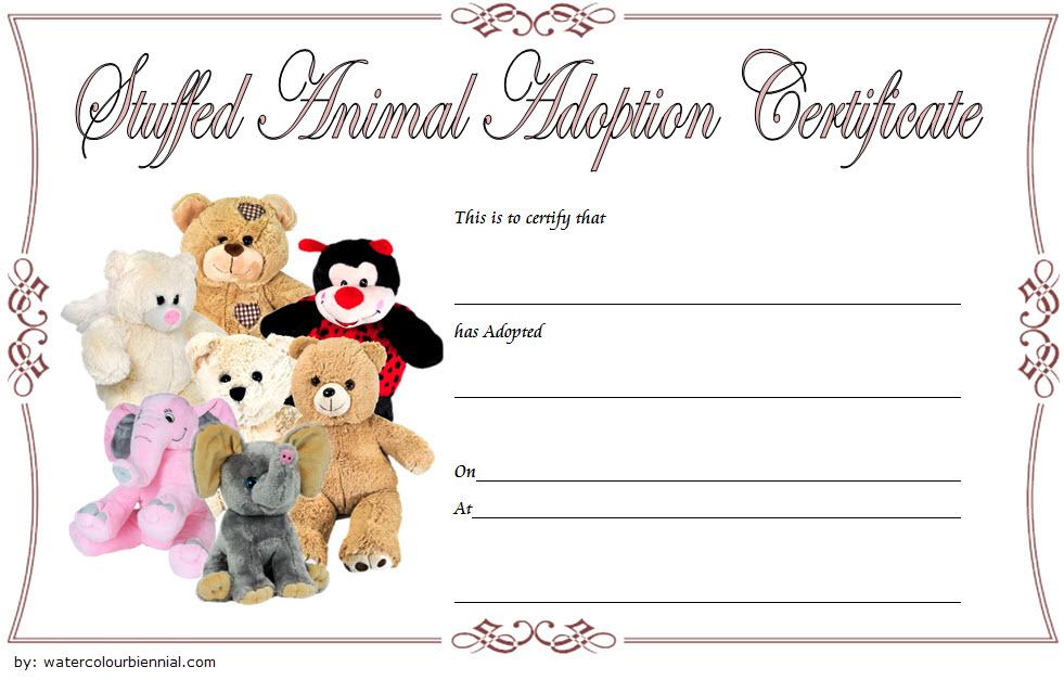 Stuffed Animal Pet Adoption Certificate Template Free 1 for Unique Stuffed Animal Birth Certificate Templates