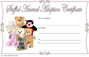 Stuffed Animal Pet Adoption Certificate Template Free 1 in Stuffed Animal Adoption Certificate Editable Templates