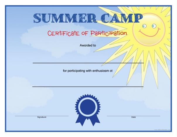 Summer Camp Certificates - Free Printable - Allfreeprintable intended for Summer Camp Certificate Template