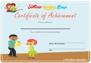 Summer Reading Bingo – Free Printable – The Mum Educates inside Summer Reading Certificate Printable