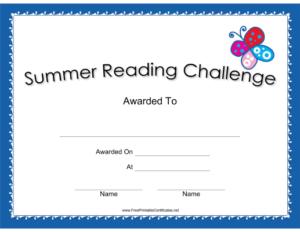 Summer Reading Challenge Blue Certificate Printable Certificate pertaining to New Summer Reading Certificate Printable