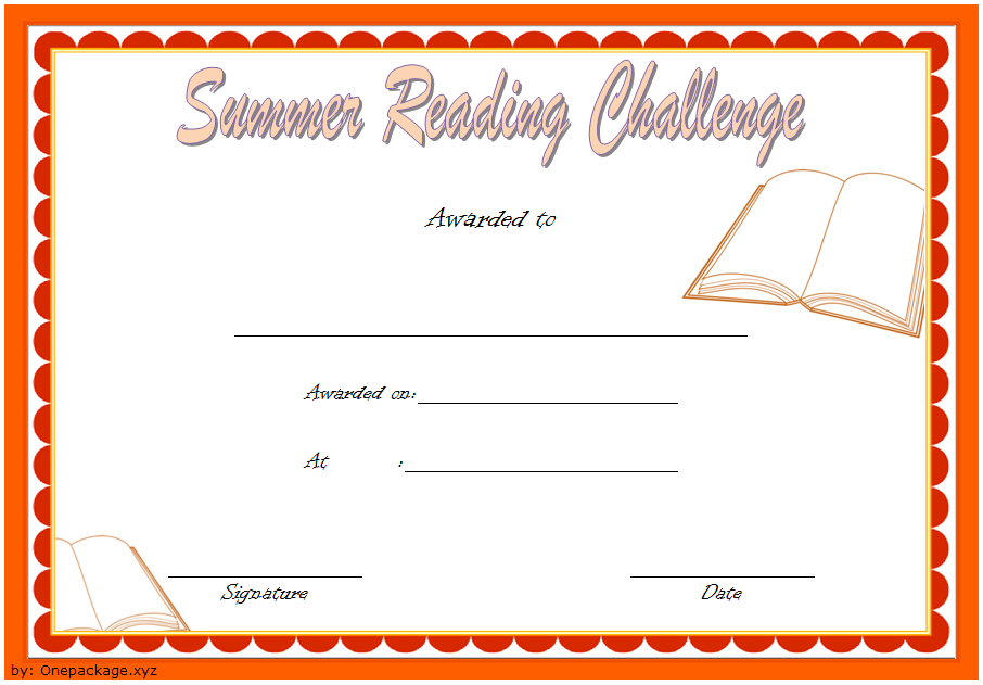Summer Reading Challenge Certificate Free Printable 1 In with regard to New Summer Reading Certificate Printable