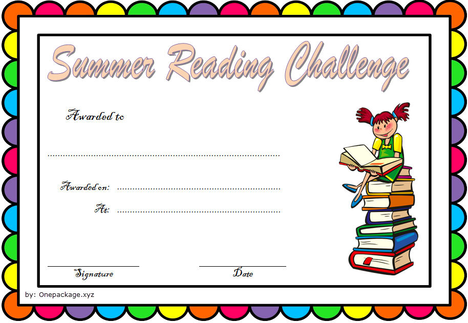 Summer Reading Challenge Certificate Free Printable 3 within Summer Reading Certificate Printable