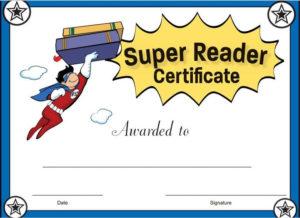 Super Reader Certificate For Girls! Reward Your Students for Super Reader Certificate Template