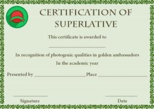 Superlative Award Certificate Template | Certificate with Unique Great Job Certificate Template Free 9 Design Awards