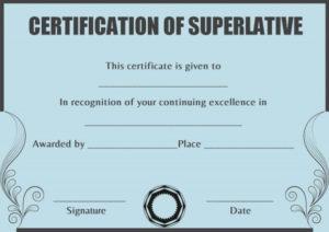 Superlative Certificate Template Words | Certificate inside Superlative Certificate Templates