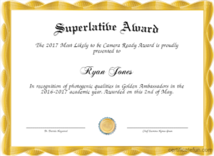Superlative Templates for Best Superlative Certificate Template