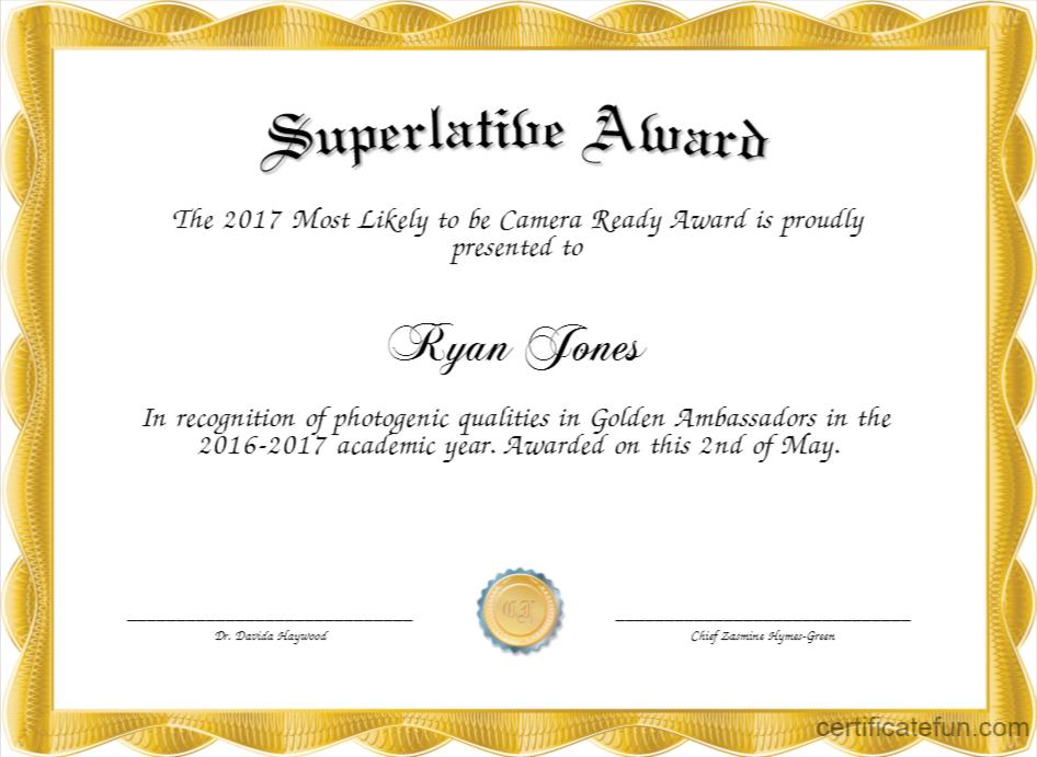 Superlative Templates intended for Superlative Certificate Templates