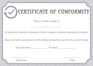 Supplier Certificate Of Conformance Templates | Printable for Certificate Of Conformance Template Free