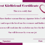 Surprise Your Girlfriend Using These 16+ Best Girlfriend Intended For Best Girlfriend Certificate Template
