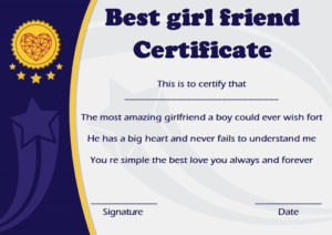 Surprise Your Girlfriend Using These 16+ Best Girlfriend pertaining to Quality Best Girlfriend Certificate Template