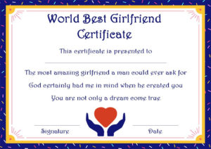 Surprise Your Girlfriend Using These 16+ Best Girlfriend regarding Best Girlfriend Certificate Template