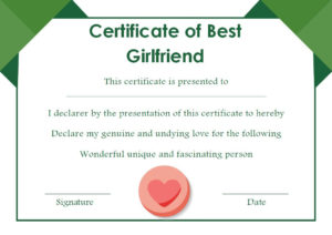 Surprise Your Girlfriend Using These 16+ Best Girlfriend with regard to Quality Best Girlfriend Certificate Template