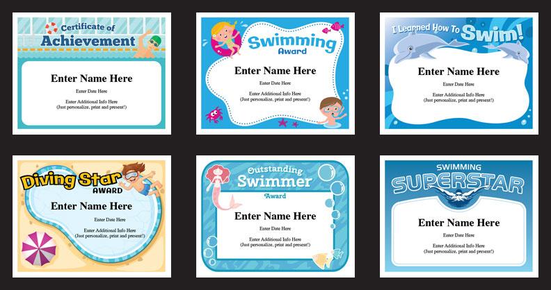 Swim Certificates | Swimming Award Templates | Swim Coach within Unique Swimming Award Certificate Template