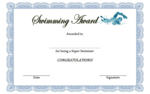 Swimming Award Certificate Free Printable 3 | Awards inside Finisher Certificate Template 7 Completion Ideas