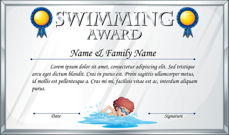 Swimming Award Stock Illustrations – 513 Swimming Award regarding Unique Swimming Award Certificate Template