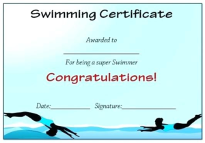 Swimming Certificate Templates Free (3) – Templates Example in Swimming Award Certificate Template