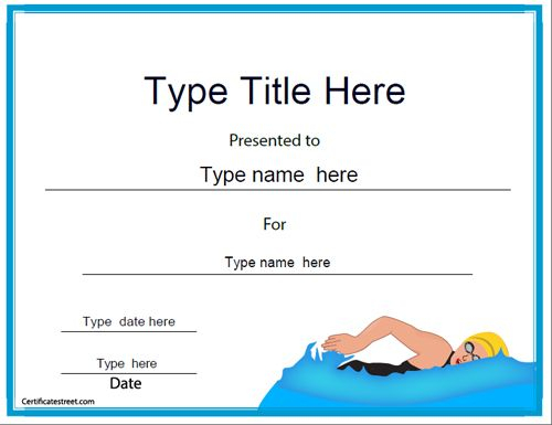 Swimming Certificate Templates Free 6 - Best Templates Ideas intended for Editable Swimming Certificate Template Free Ideas