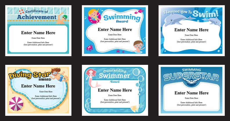 Swimming Certificates Templates | Swim Awards | Swimming Coach regarding Free Swimming Certificate Templates