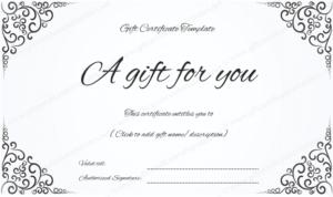 Swirls Corner Gift Certificate throughout Elegant Gift Certificate Template