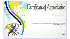 Table Tennis Appreciation Certificate Template Free 3 In pertaining to Table Tennis Certificate Template Free
