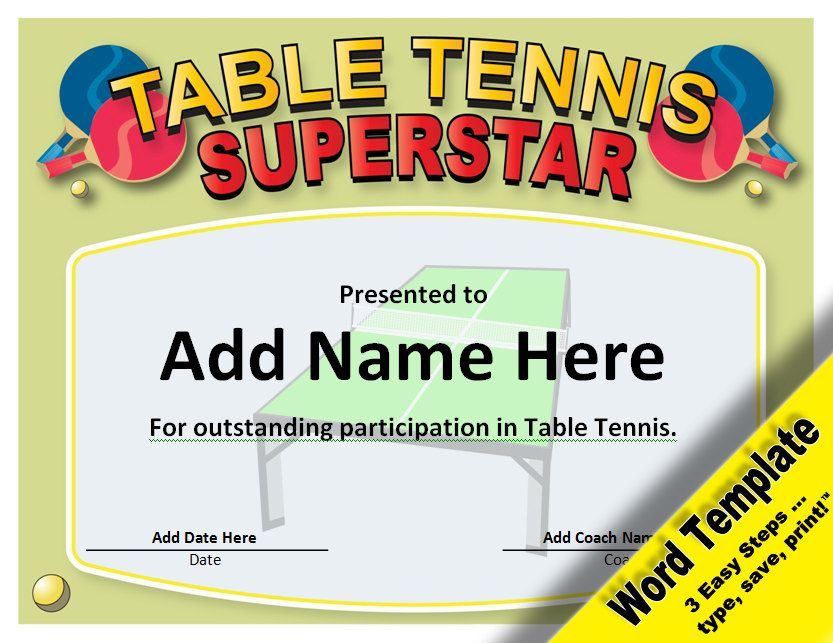 Table Tennis Award, Editable Word Template, Printable within Best Table Tennis Certificate Template Free